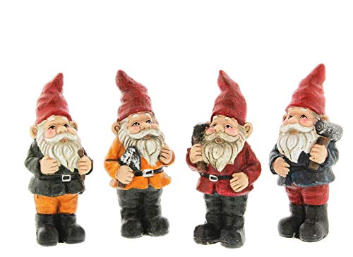 Distinctive Designs Set of 4 Assorted Whimsical Cement Gnome Figurines, 6.5