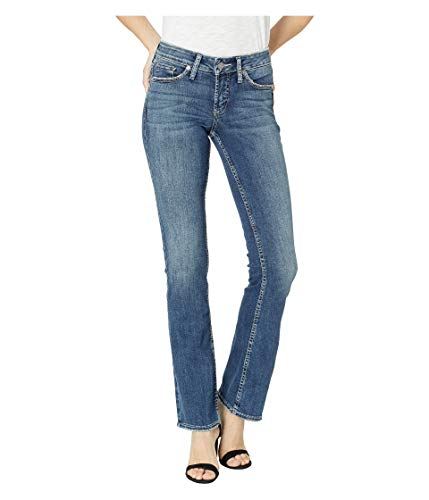 Silver Jeans Co. Women's Suki Curvy Fit Mid Rise Slim Bootcut with Flap Pocket, Power Stretch Dark Wash, 28W x 33L