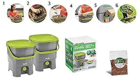 Cubo de Compostaje Bocashi 16 Litros - Juego de 2: Amazon.es: Hogar