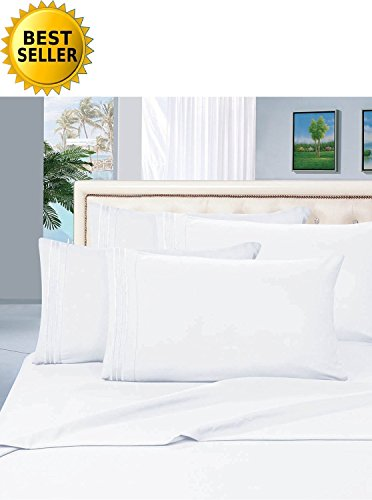 MattRest® Hotel Luxury Bed Sheets Set-ON SALE TODAY! #1 Rated On Amazon-Top Quality Softest Bedding 1500 Thread Count 100% Money Back Guarantee!Deep Pocket,Wrinkle & Fade Resistant - QUEEN , White
