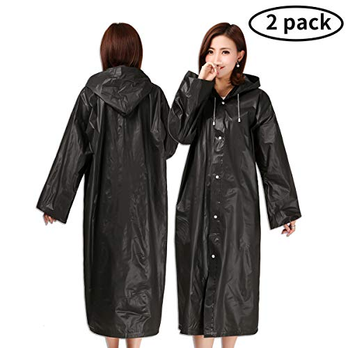 Guzack Rain Poncho, [2 Pack] Raincoat Universal Reusable Waterproof Jacket Coat Emergency Poncho Rainwear with Drawstring Hood and Sleeves for Unisex Adults