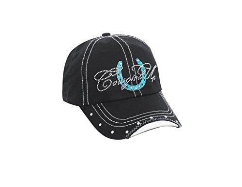Cowgirl Up Women's Rhinestone Horseshoe Ball Cap Black/Blue OSFA