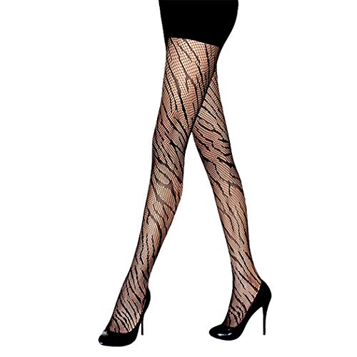 (Rosemarie Collections Women's Halloween Costume Animal Print Stockings Fishnet Tights (Zebra One Size) Black)
