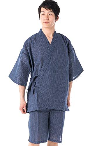 7cd2d18f251 KYOETSU Men's Japanese Jinbei Kimono Shijira Stripe 36 (Large, Thin stripe /Navy)