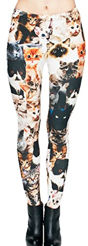 Ndoobiy Women's Printed Leggings Full-Length Regular/Plus Size Yoga Workout Leggings Pants Soft Capri L1(Many Cat PS)