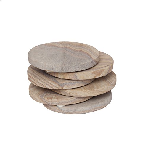 Mothers Day Gifts - GoCraft Sandstone Absorbent Coasters | Natural Yellow Sandstone Round Coasters for your Drinks, Beverages & Wine/Bar Glasses (Set of ()