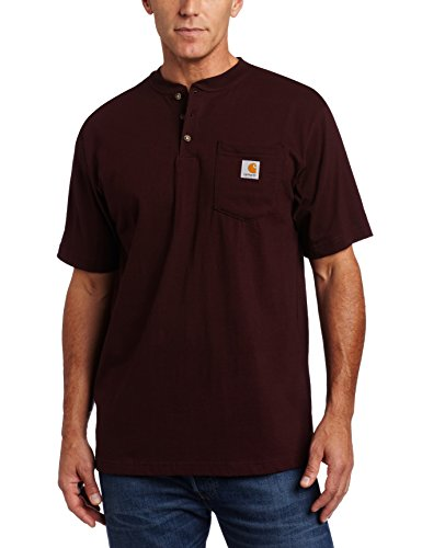 Carhartt Men's Workwear Pocket Henley Shirt, Port, 2X-Large