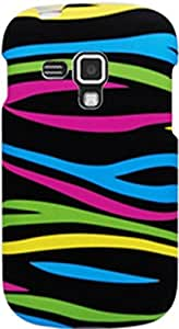 PiGGyB Case for Samsung Galaxy Amp Colorful Zebra Stripes Black Rubberized Hard