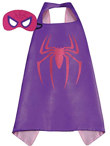 Superhero Halloween Party Cape and Mask Set for Kids Spidergirl
