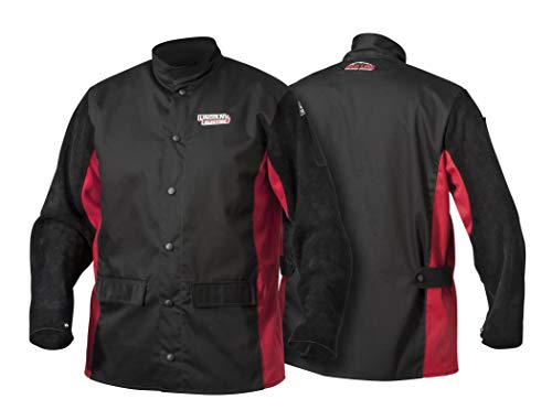 Cotton Welding Jacket - Lincoln Electric Split Leather Sleeved Welding Jacket | Premium Flame Resistant Cotton Body | Black & Red | XL | K2986-XL