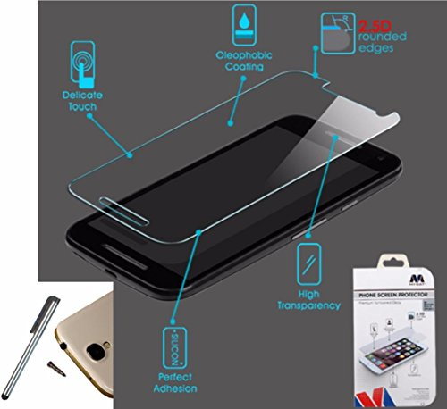 Premium Mybat Tempered Glass Screen Protector Shield Motorola Moto G 3rd Generation (at&T T-Mobile Virgin Mobile US Cellular Sprint)+ [World Acc] TM Brand Stylus Pen + Dust Cap Gift