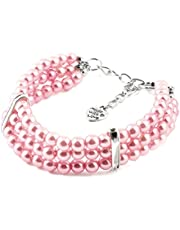 uxcell® Pink Three Rows Round Beads Linked Pet Dog Puppy Collar Jewelry Necklace S