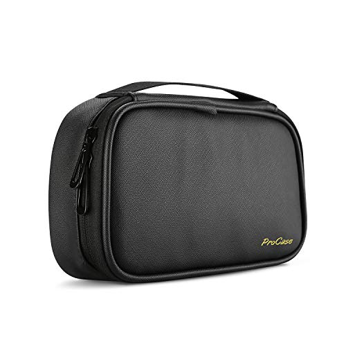 (ProCase Travel Electronics Cable Organizer Bag, Double Layer Thicken Portable Gadget Accessories Multifunction Carrying Case Pouch for Cords USB SD Memory Cards Earphones Power Bank Hard Drive -Black)
