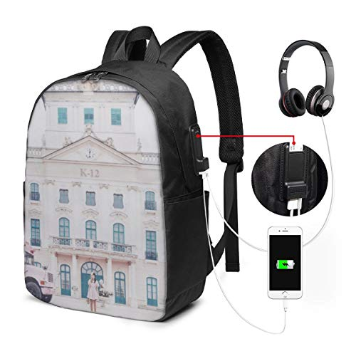JohnBHaws Melanie Martinez K-12 Laptop Backpack,Extra Large Backpacks with USB Charging Port,Water Resistant College School Bookbag Fits 17 Inch Laptops and Notebooks,Black