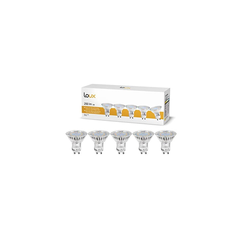 LOUX 3W GU10 LED Bulbs, 35W Halogen Bulb Equivalent