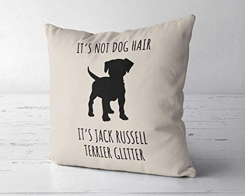 ChristBess Its Not Dog Hair Its Jack Russell Terrier Glitter Pillow Cover, Jack Russell Decor, Jack Russell Lover, Jack Russell Mom, Jack Russell Gift
