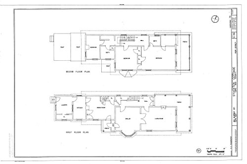 Historic Pictoric Blueprint Diagram First Floor Plan, Second Floor Plan - Stockton Cottage, 26 Gurney Street, Cape May, Cape May County, NJ 44in x 30in