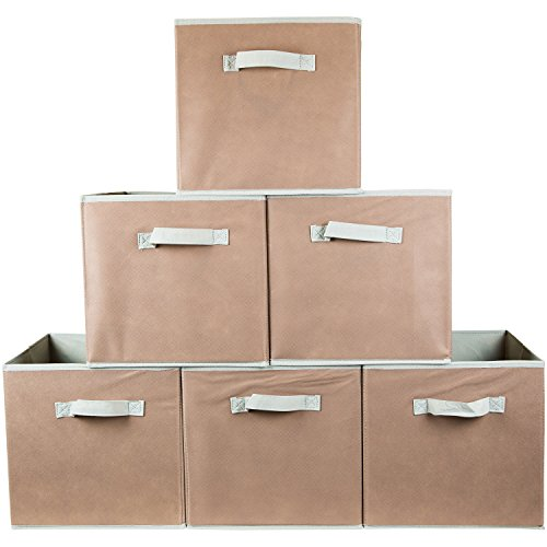 Squared Home Solutions Fabric Storage Cube Bins, Beige  (Set of 6)