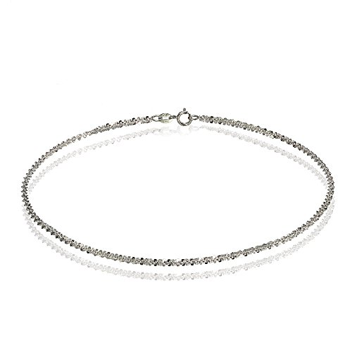 Bria Lou 14k White Gold 1.3mm Italian Rock Rope Chain Anklet, 9 Inches by Bria Lou