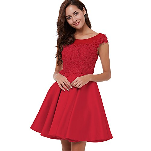 CLOCOLOR Women's Satin Cap Sleeve A Line Lace Applique Short Homecoming Party Dress (US6, - Online Lf Shopping