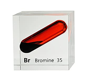 bromine liquid in 50mm 2x2in acrylic cube for element collection