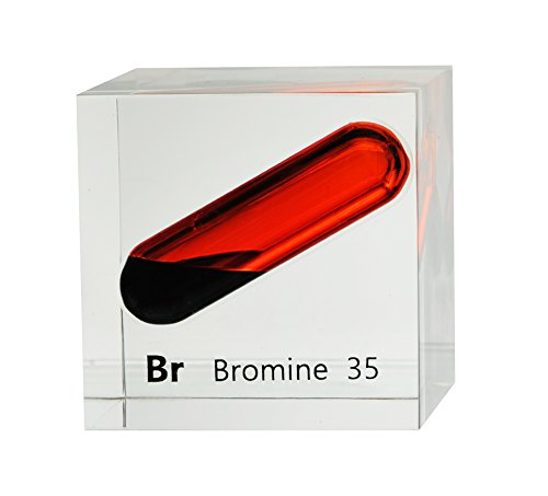 Bromine Liquid in 50mm (2x2in) Acrylic Cube for Element Collection