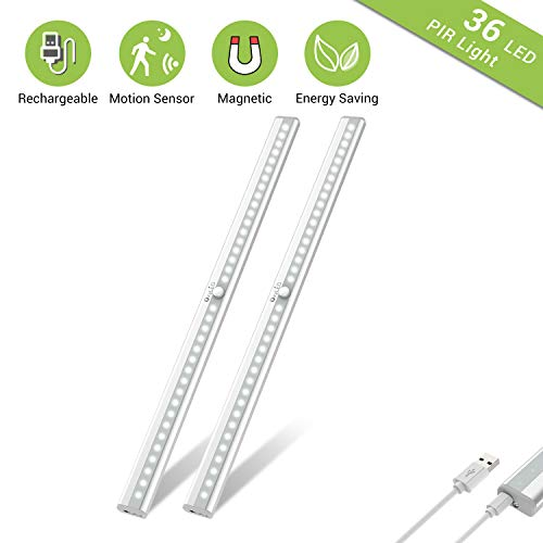 Wireless Under Cabinet Lighting, OxyLED 36 LED Motion Sensor Closet Lights, USB Rechargeable LED Kitchen Cabinet Lights, Motion Led Light Bar with Magnetic Strip, T-02Plus 2 Pack