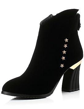 Mujer Botines Zapatos - Botas - Mujer vestido/LÄSSIG - Fieltro - Bloque tacón redondas - Botas/Moderno Botas - Negro, negro: Amazon.es: Deportes y aire ...