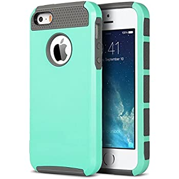 iPhone 5S Case, iPhone 5 Case, iPhone SE Case,ULAK Slim Fit Dual Layer Protection Case Shockproof Hard Rugged Ultra Protective Back Rubber Cover with Impact Protection (Mint+Gray)