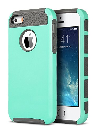 iPhone 5S Case, iPhone 5 Case, iPhone SE Case,ULAK Slim Fit Dual Layer Protection Case Shock Absorbing Hard Rugged Ultra Protective Back Rubber Cover with Impact Protection (Mint+Gray)