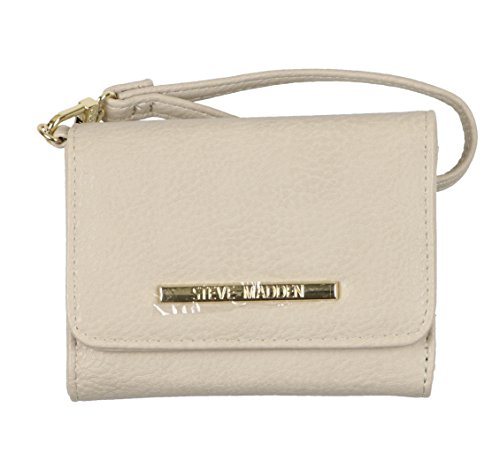 Steve Madden Women's French Wristlet Tri-Fold Wallet Bisque