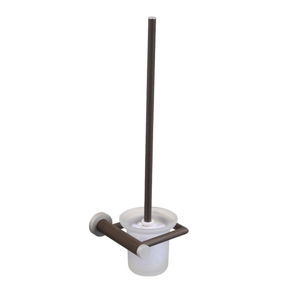 Yxx max Bathroom Toilet Brush Space Aluminum Wood Shelf Toilet Brush Wall-mounted Brush Bathroom Toilet Brush