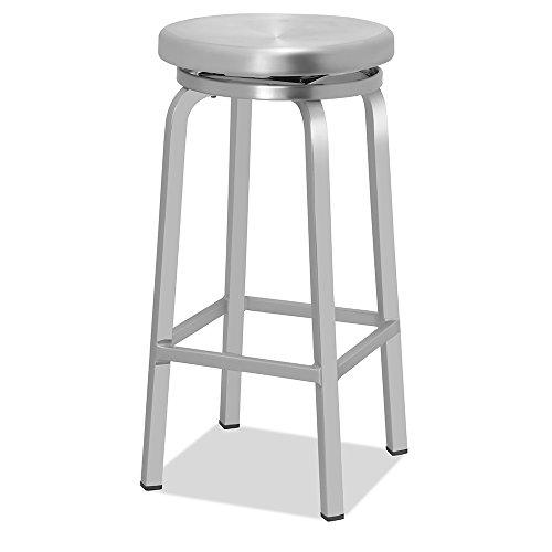 - CHAIR DEPOTS Atlantic Aluminum Swivel Backless Bar Stool, Brushed Aluminum Finish