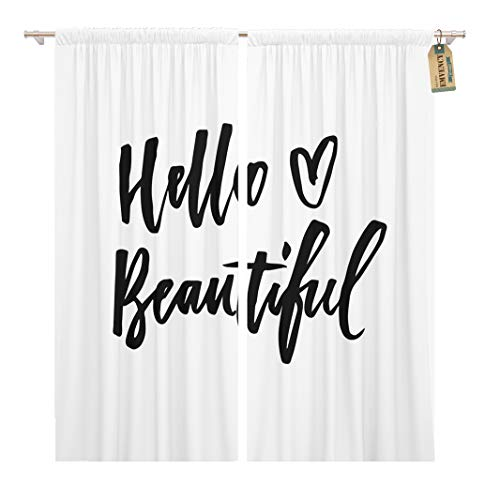 Golee Window Curtain Hello Beautiful Phrase Modern and Brush Lettering Can Be Home Decor Rod Pocket Drapes 2 Panels Curtain 104 x 96 inches - Beautiful Brush Lettering