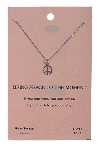 Shag Wear Peace and Karma Inspirations Quote Pendant Necklace (Peace Sign Pendant)