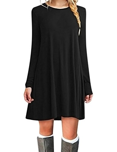 Leadingstar Women Long Sleeve Round Collar A Line Top Tunic Shirt Black Dress (M, Black)