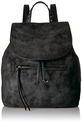 Lucky Dray Backpack, Black/Silver Black Embroidered Leather Backpack