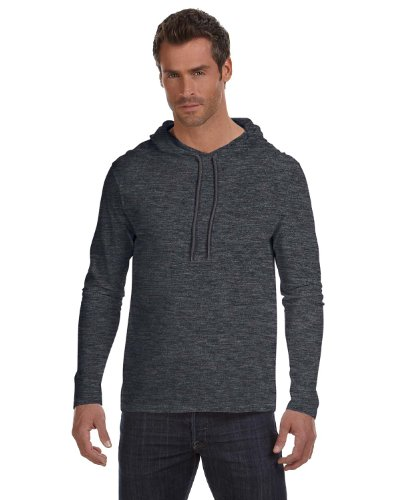 Anvil Lightweight Long Sleeve Hooded T-Shirt. 987 X-Large Heather Dark Grey / Dark (Cotton Hooded Sport Shirt)