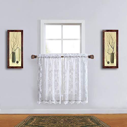 Warm Home Designs Pair of 30 Inches Wide x 36 Inches Long White Color Knitted Lace Kitchen Tier Curtains in Charming Flower Pattern. Add Swags & Valance for Ultimate Elegant - Tiers Curtain Lace