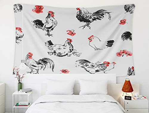 King Tapestry Wall Hanging,Tapestry,Shorping 60x50 Inch Wall Art Tapestry for Home Decoration Greeting card Chinese new year A rooster and a hen with chicks and a branch of sakura oriental ink paintin