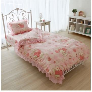 SANRIO My Melody volume ruffle duvet cover, sheets, pillow case set of three (Sanrio Pillowcase)