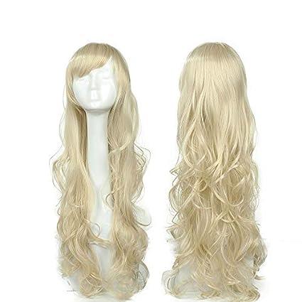 Parrucca Bionda Lunga da Donna Cosplay Halloween con Frangia Capelli Mossi  80cm Wig Blonde Parrucche per e3941c49b7d8