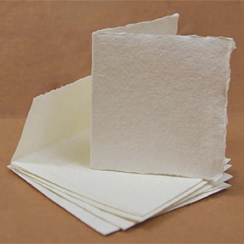 Khadi : White Watercolour Paint Blank Greeting Cards With Envelopes : 8x8cm : 5 Pack KHADI PAPERS