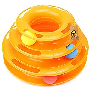 Foodie Puppies Interactive Tower of Tracks Plastic 3 Layers Pet Game Entertainment Turntable with Colourful Ball Toy for Cats