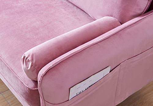 Living Room Velvet Couch with 2 Small Pillows, Modern Loveseat Sofa Twin Size Contemporary Sofas for Living Room and Bedroom (Pink) modern sofas and couches