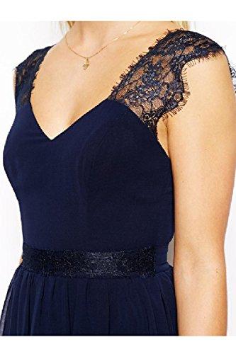 Fasumava Blackless In Mini Merletto Vestito Donne Chiffon Abiti Bengala Forma Estate Di E Mosaico Blu Elegante vrwFvS