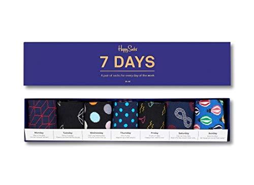 Happy Socks Unisex 7 Days Of The Week Box Set, Seven Pairs of Crew Socks (Multicolored, 10-13)