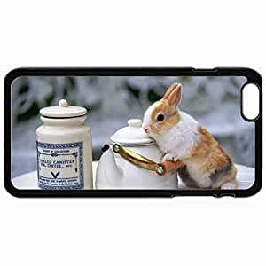 Customized Cellphone Case Back Cover For iPhone 6 Plus, Protective Hardshell Case Personalized Easter Bunny Black