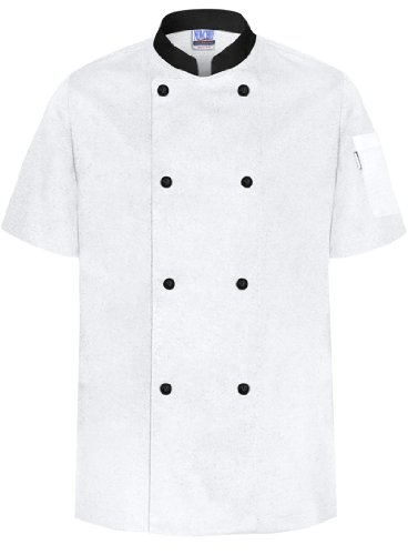 Newchef Fashion White/Black Basic Chef Coat Short Sleeves Male XL White_Black