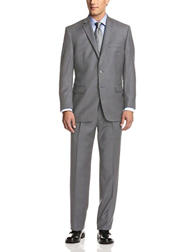Fuomo Men's Two Button Classic Fit Suit GREY (46 Regular US / 56R EU / Waist 40)